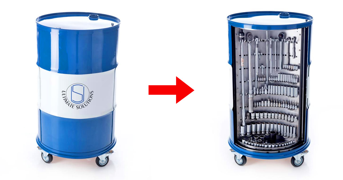 This Ultimate Toolbox Turns a Steel Drum Barrel Into a Rotating Tool Organizer