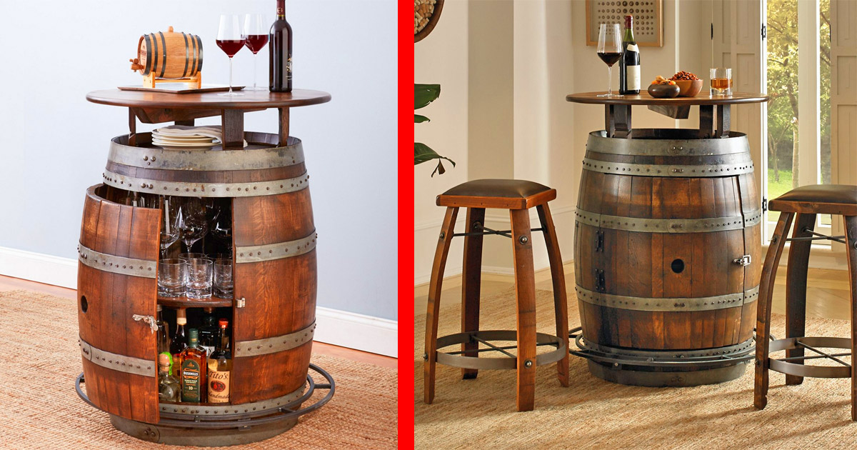 This Ultimate Wine Barrel Table Has a Hidden Storage Area Inside For Keeping Your Booze