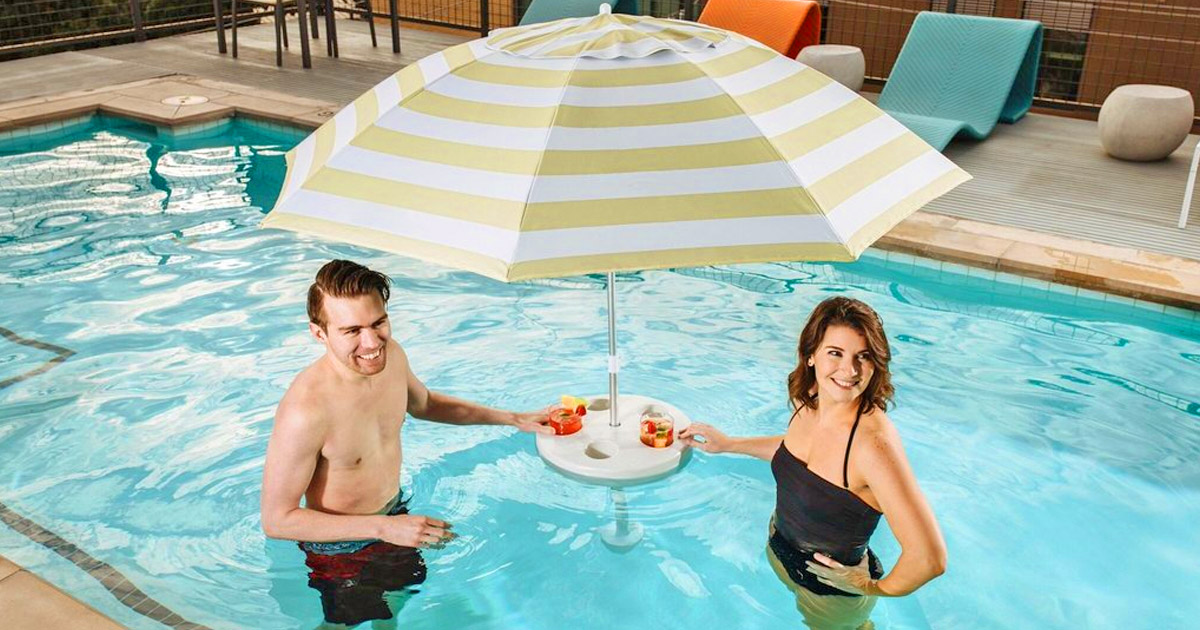 This Umbrella Buoy Can Hold Your Drinks And Give You Shade In The Pool