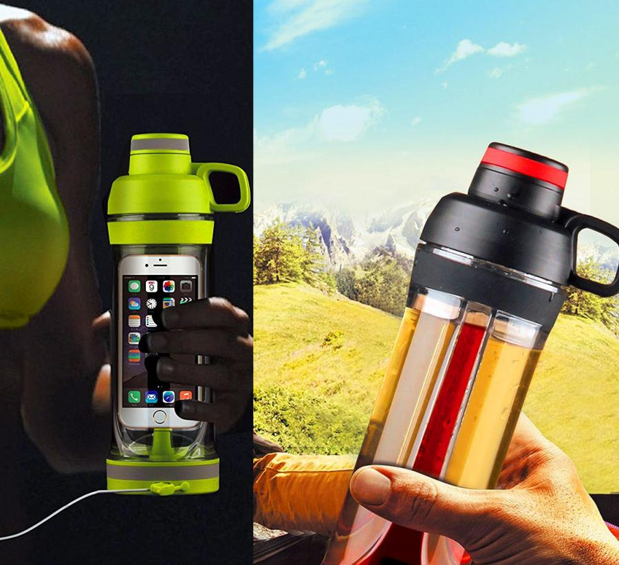 Water Bottle Storage: This Water Bottle Has A Storage Compartment For Your Phone