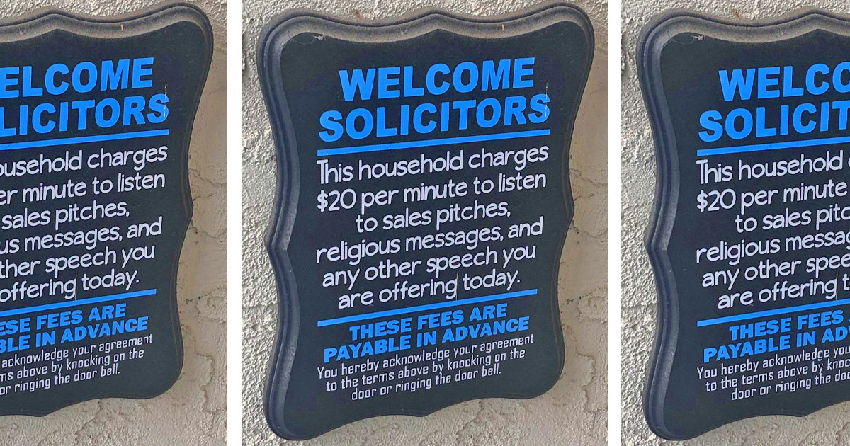 This Welcome Solicitors Sign Should Be On Every House That Hates Door-to-Door Sales People