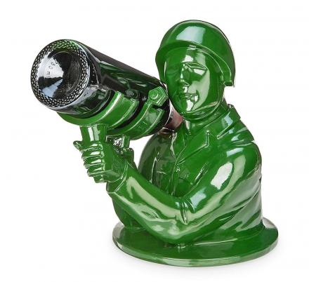 This Wine Bottle Holder Looks Like An Army Man Holding a Bazooka