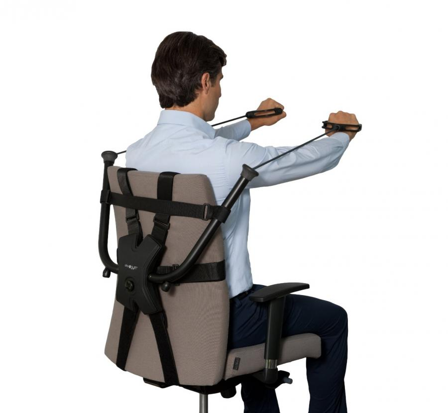 This workout device attaches to your work chair for for Best chair for working at home