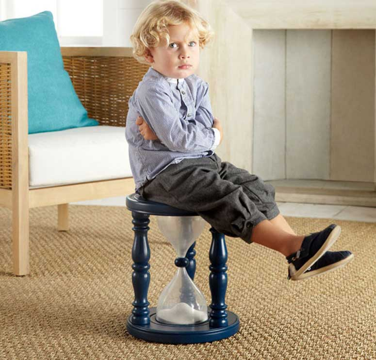 ... to the time-out corner and having your kids ask you if their time-out  is done yet every 20 seconds, why not try out the Time Out Sand Timer Stool.