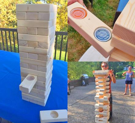 Tipsy Giant Jenga Game Has Random Blocks With Jello Shots Hidden Inside That You Take If You Pull