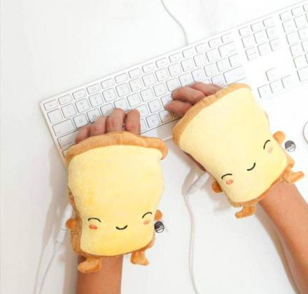 These Toast Shaped USB Heated Hand Warmers Still Let You Type