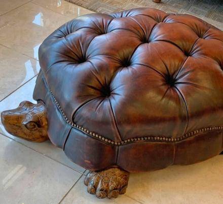 This Hand-Carved Wooden and Leather Tortoise Ottoman Will Classy-Up Any Room