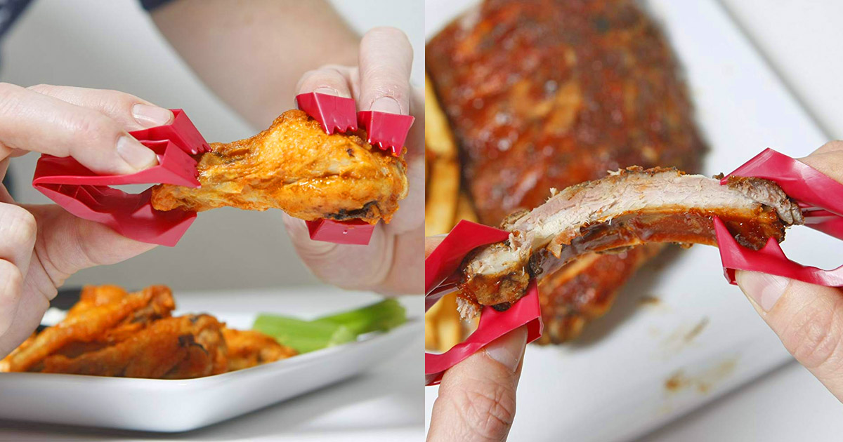 Trongs: Mini Finger Tongs Keep Your Hands Clean While Eating Messy Foods