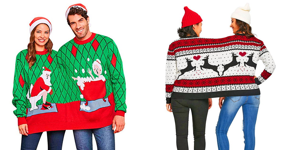 Two Person Connected Ugly Christmas Sweater
