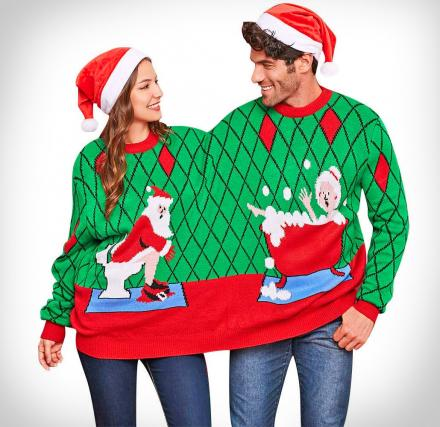 Ugly Christmas Sweaters.Two Person Connected Ugly Christmas Sweater