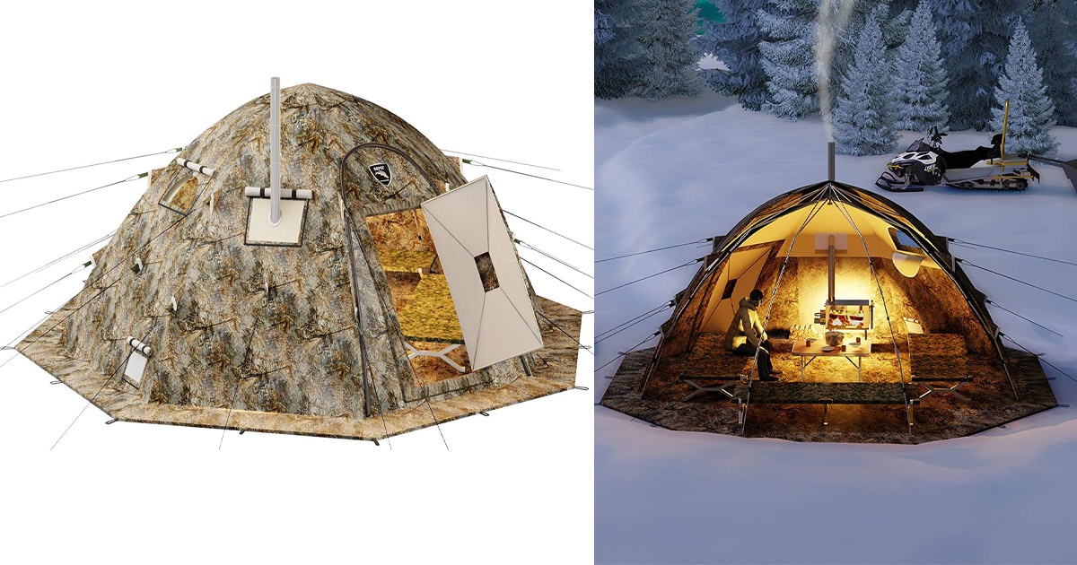 This Ultimate Cold-Weather Camping Tent Has a Built-in Wood Stove