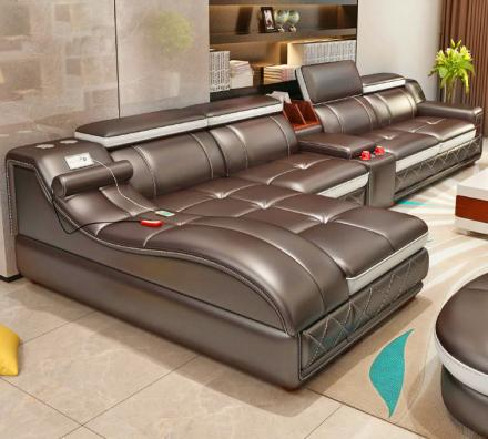 Ultimate Couch: Giant Leather Sectional With Integrated Massage Chair and Speakers