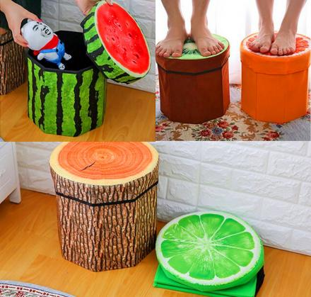 Unique 3D Fruit Folding Storage Organizer and Ottoman