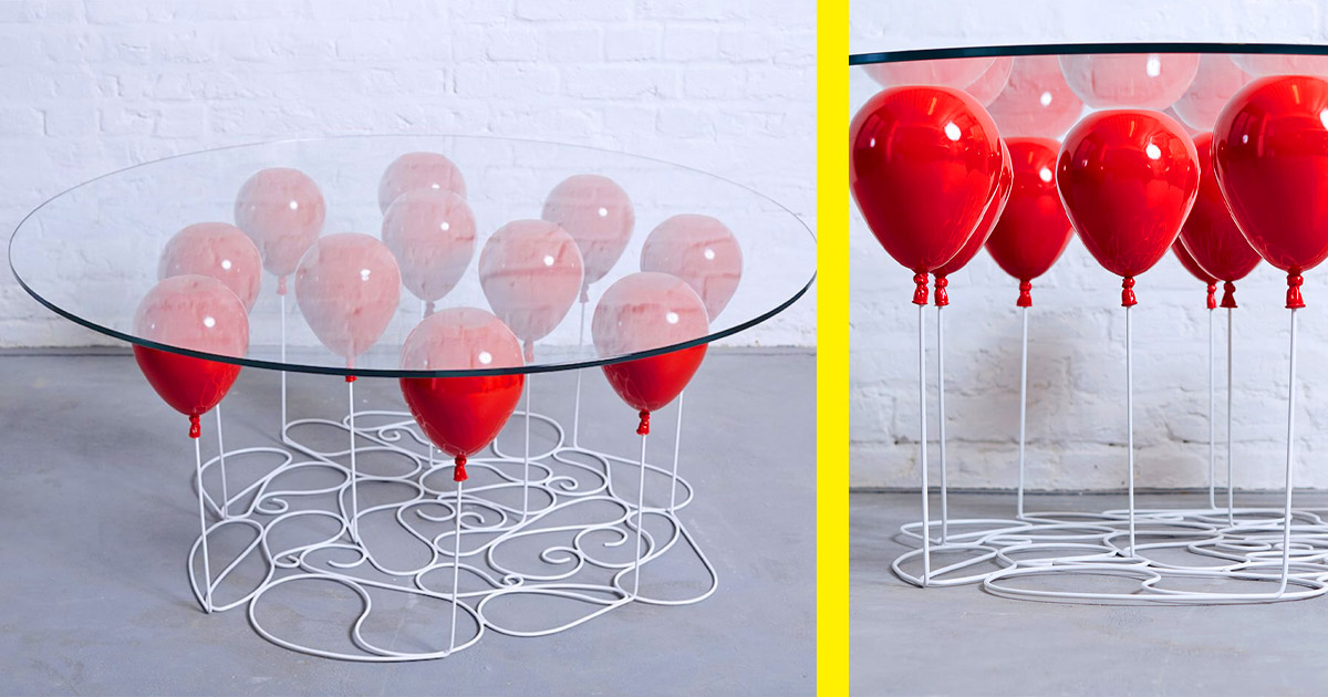 This Incredible UP-Inspired Table Is Made To Look Like Balloons Are Holding Up The Glass Tabletop
