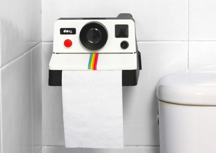The Polaroid Camera Toilet Paper Holder