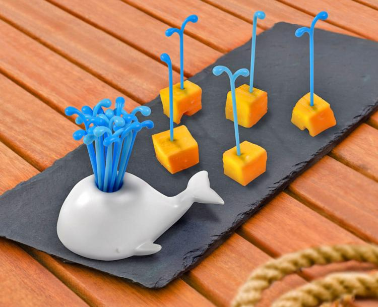 Whale Toothpick Holder With Spouting Blow-hole Party Picks