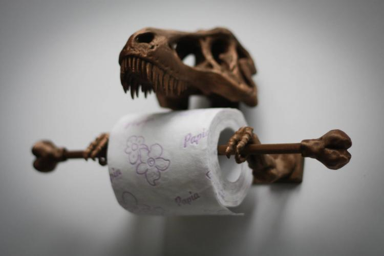 BONUS: T-Rex Dinosaur Skeleton Toilet Paper Holder