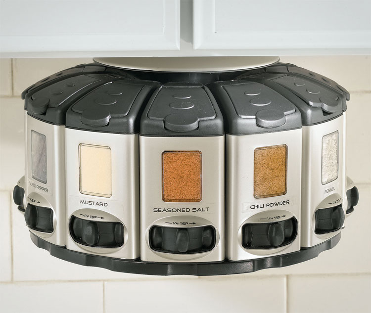 Under-Cabinet Spinning Spice Rack Carousel With Auto Measure