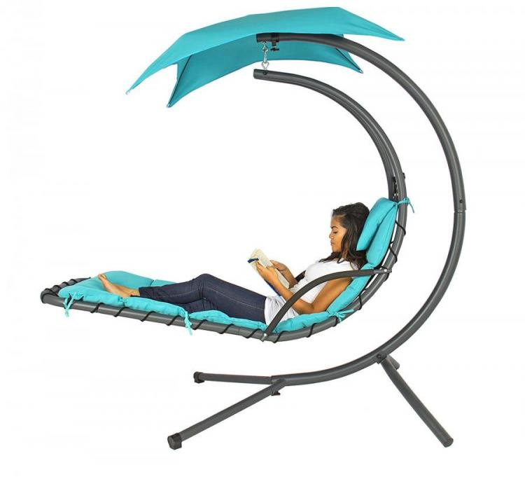 Outdoor Hanging Chaise Lounger Lets You Relax and Swing While Hanging In The Air