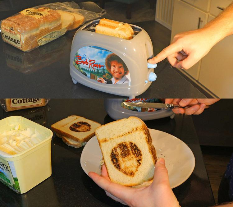 Bob Ross Toaster - Toasts Bob Ross Face Onto Bread