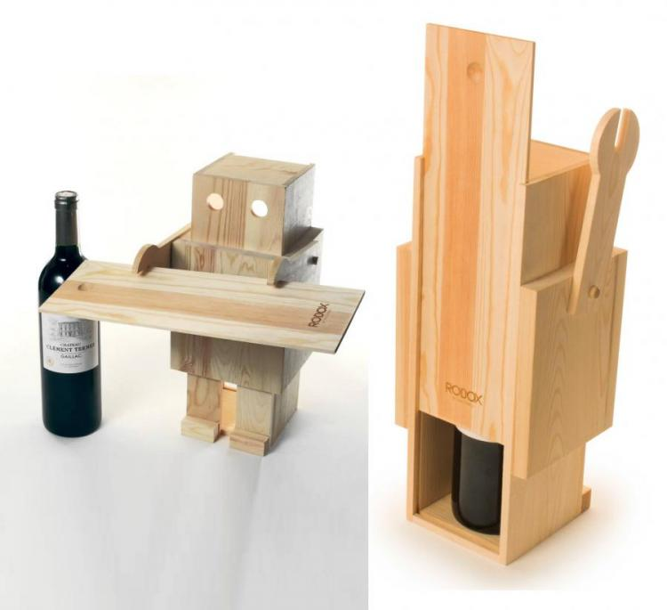 Robox: A Wooden Robot That Holds a Bottle of Wine