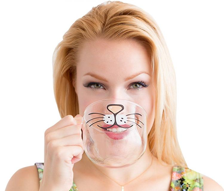 Cat Beard Mug Gives You a Cat Face While You Drink It