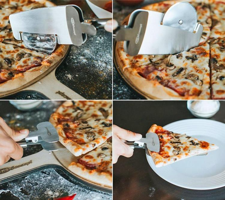 4-in-1 Pizza Cutter Doubles as a Pizza Serving Spatula