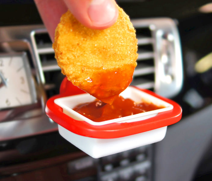 DipClip: Car Vent Dipping Sauce Holder