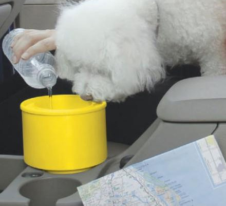 A Travel Dog Water Dish That Fits In Your Cars Cupholder