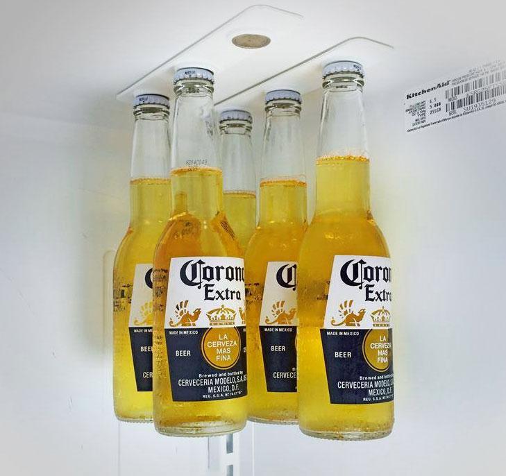 bottleloft magnetic beer bottle attachment saves rom in your fridge
