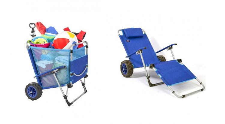 2-in-1 beach chair lounger wagon combo - Beach Chair Doubles as a Wagon For Easy Beach Trips