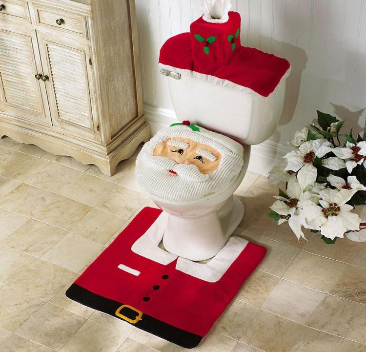 This Santa Clause Toilet and Rug Set