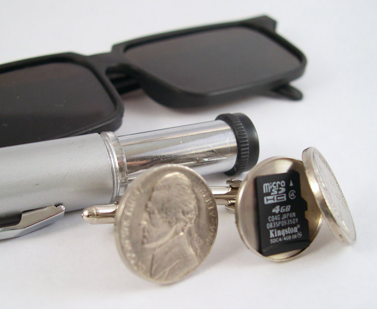 Nickel Cufflinks That Have a Secret Compartment