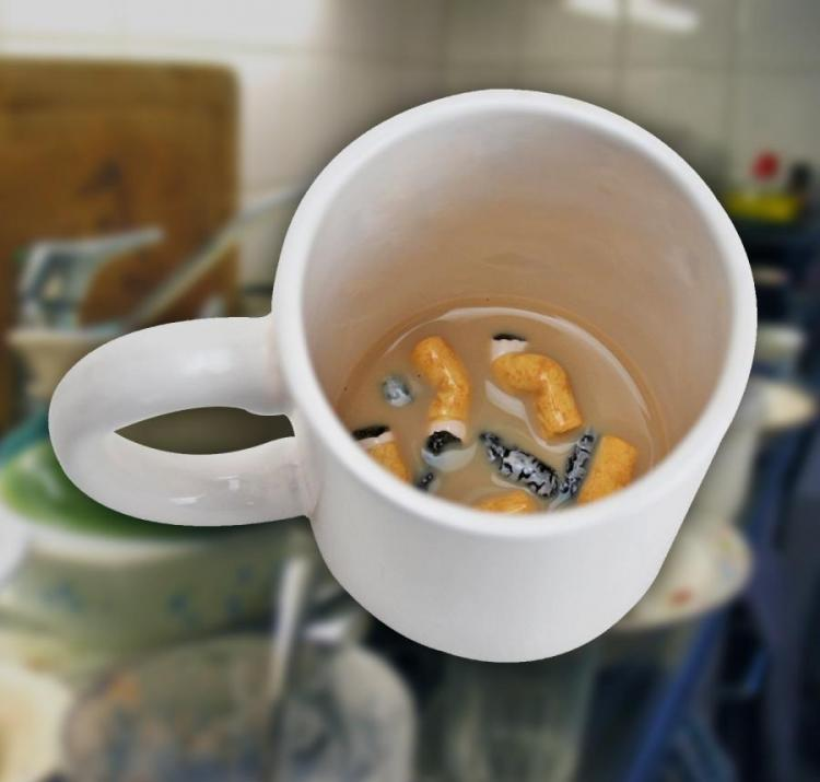 This Prank Coffee Mug Looks Like a Dirty Ashtray Full Of Cigarettes