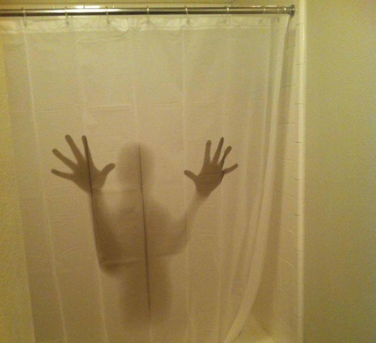 Shadowy Figure Scary Shower Curtain