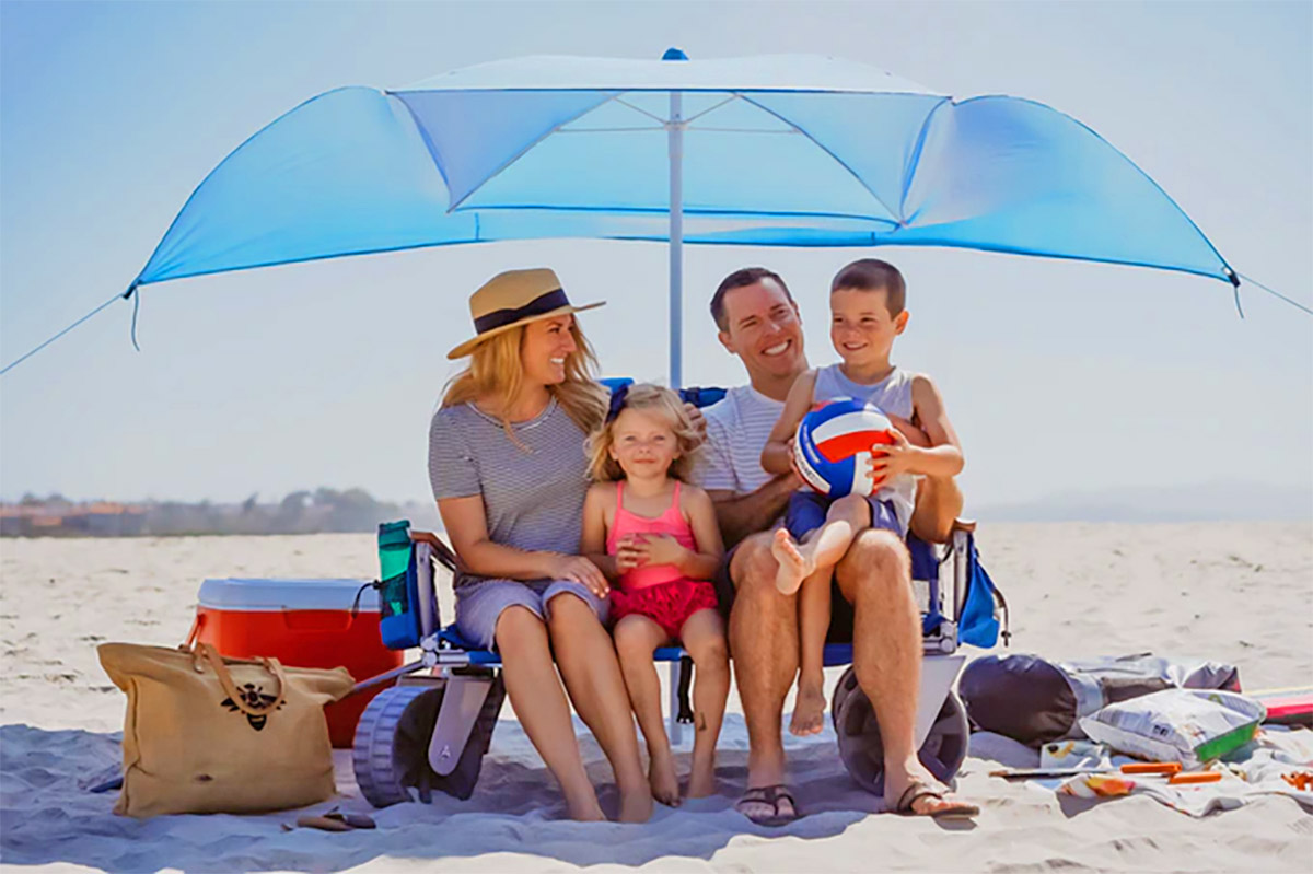 This 3 In 1 Beach Wagon Turns Into A Two Person Beach Chair With An Umbrella