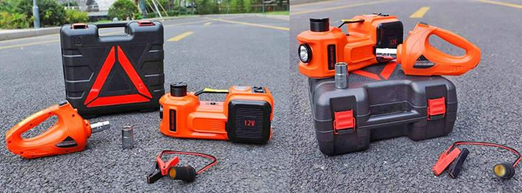 3-in-1 electric car jack, impact wrench, tire inflator, flashlight - Multipurpose emergency car jack gadget