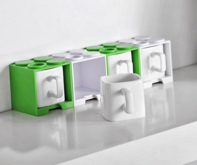 Cube Coffee Mug With Lego Shaped Stackable Storage Container