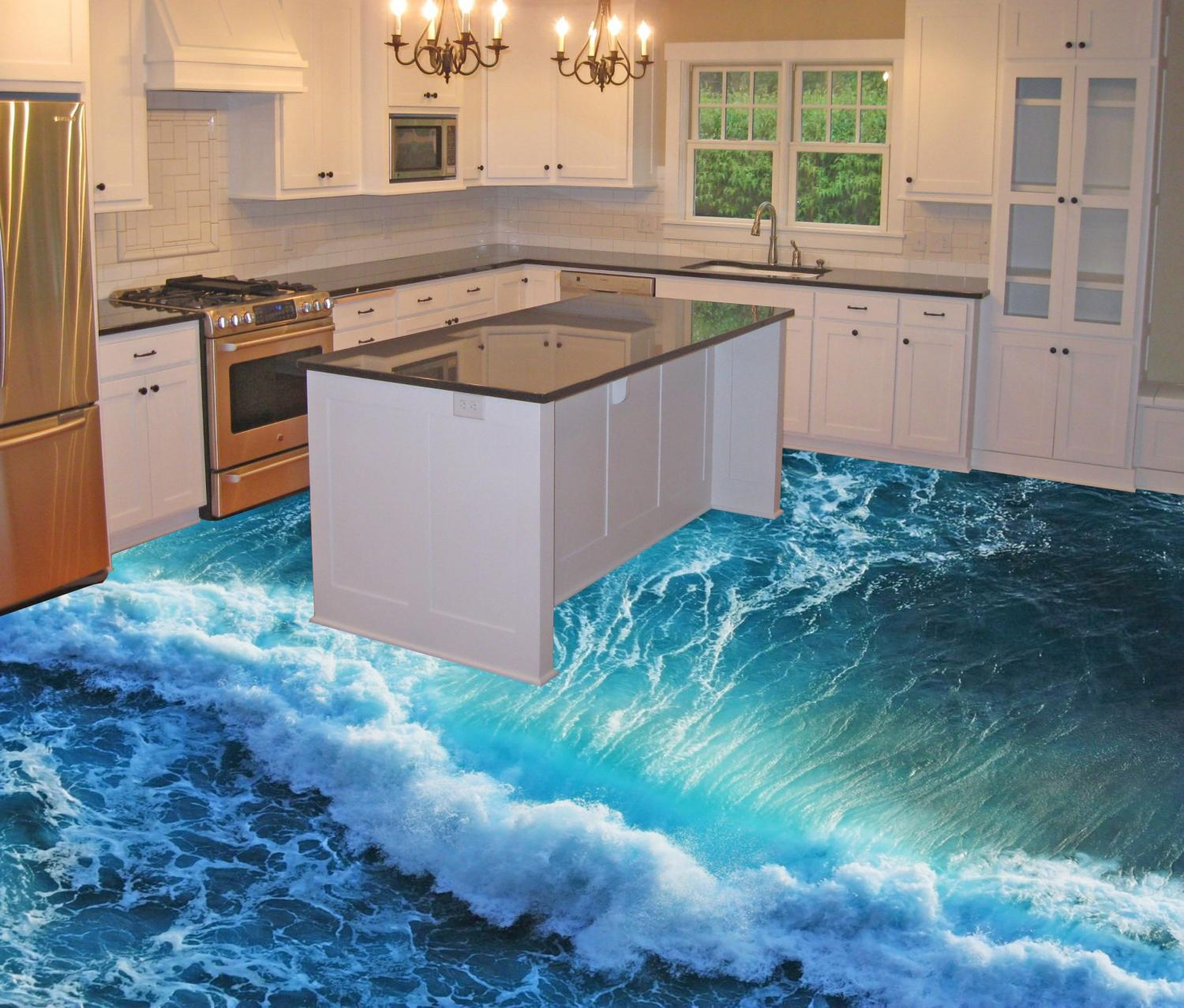 3D Epoxy Floors That Will Turn Your Room Into a Beach - illusion 3d flooring