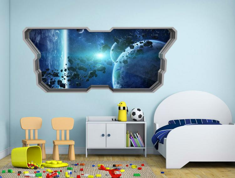 3D Wall Sticker Decals - 3D Wallpaper - 3D Space Planets Wall Sticker - Coming through wall decal