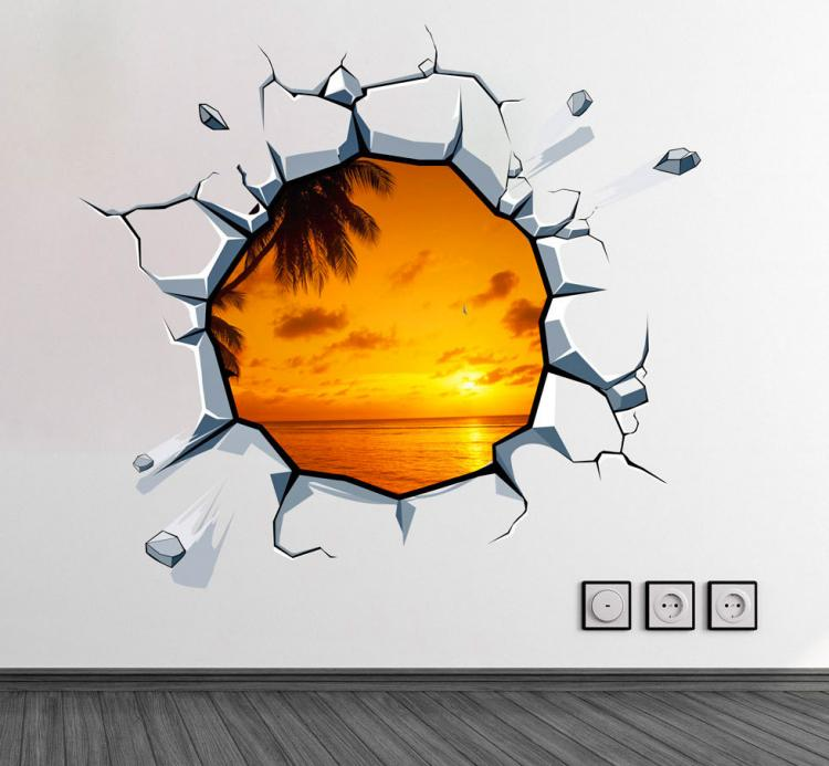 3D Wall Sticker Decals - 3D Wallpaper - 3D Sunset View Wall Sticker - Coming through wall decal