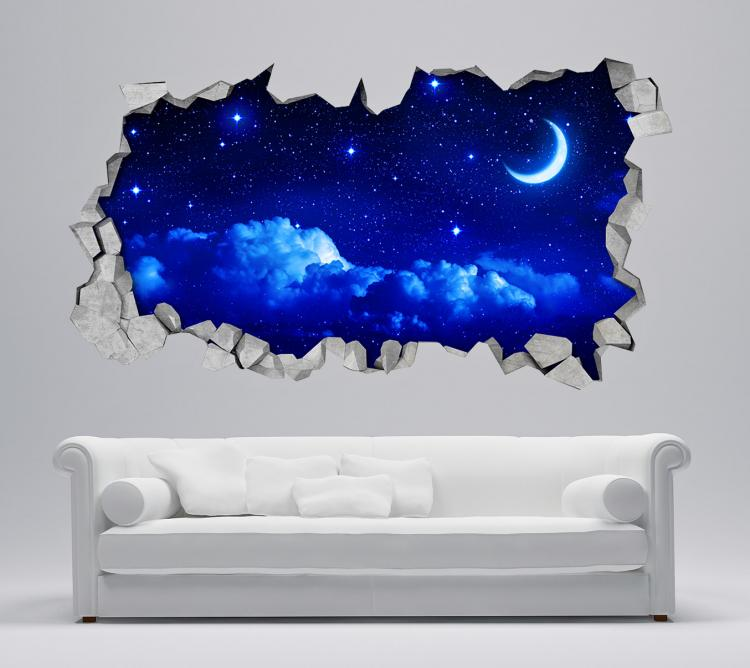 3D Wall Sticker Decals - 3D Wallpaper - 3D Night Sky Wall Sticker - Coming through wall decal