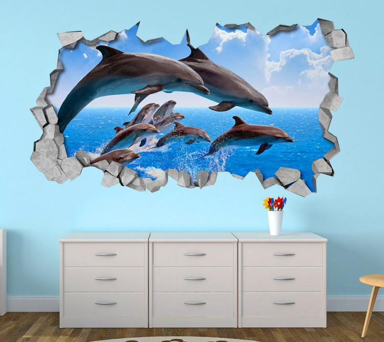 3D Wall Sticker Decals - 3D Wallpaper - 3D Jumping Dophins Wall Sticker - Coming through wall decal