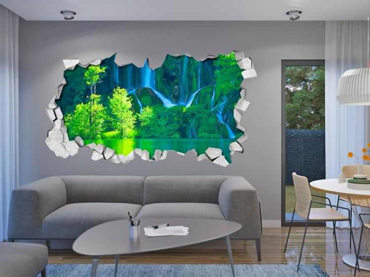 3D Wall Sticker Decals - 3D Wallpaper - 3D Peaceful Pond Wall Sticker - Coming through wall decal
