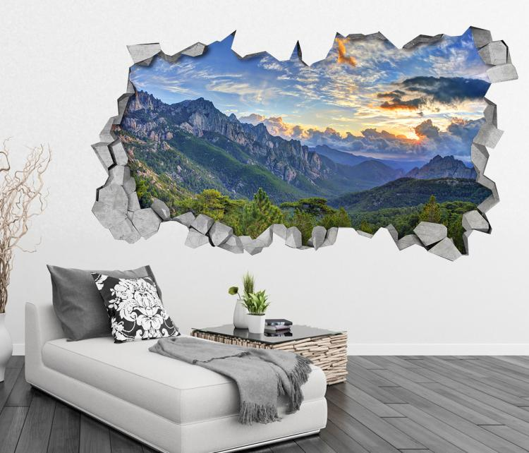 3D Wall Sticker Decals - 3D Wallpaper - 3D Mountain View Wall Sticker - Coming through wall decal