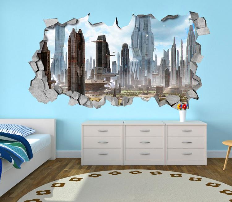3D Wall Sticker Decals - 3D Wallpaper - 3D Futuristic City Wall Sticker - Coming through wall decal