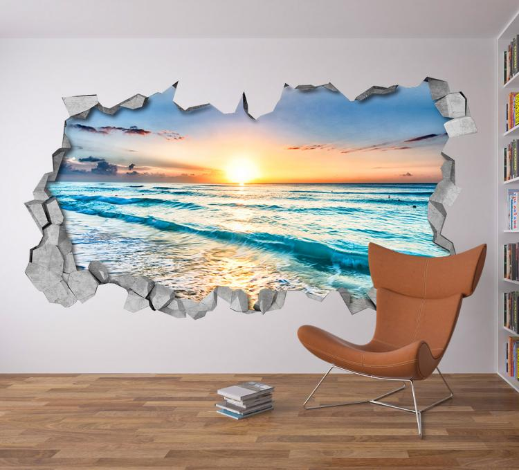 3D Wall Sticker Decals - 3D Wallpaper - 3D Ocean Beach View Wall Sticker - Coming through wall decal