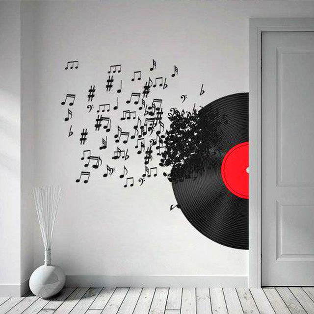 3D Wall Sticker Decals - 3D Wallpaper - 3D Blowing Music Notes Wall Sticker - Coming through wall decal
