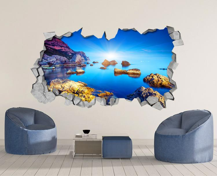 3D Wall Sticker Decals - 3D Wallpaper - 3D Calm Ocean Water View Wall Sticker - Coming through wall decal