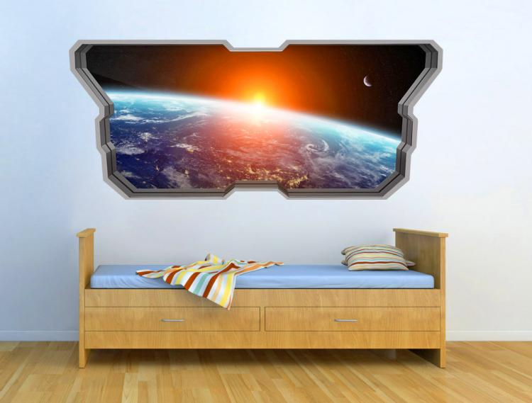 3D Wall Sticker Decals - 3D Wallpaper - 3D Space Earth View Wall Sticker - Coming through wall decal